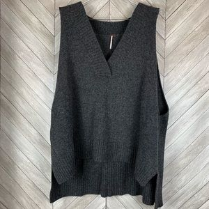 Free People Sweaters - Free people lambswool swing vest in dark gray